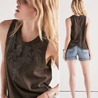 NWT Lucky Brand Top Embroidered Leaf Ruched Back Tank Tee Sleeveless Size L