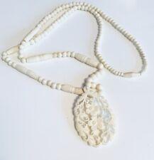 Vintage bovine bone? bead necklace, carved  pendant & screw clasp