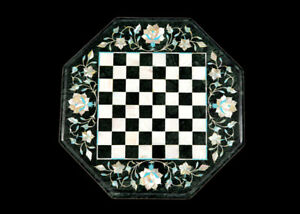 "12"" green Marble chess Table Top Inlay semi precious stones"