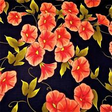 Lovely Morning Glory Floral, Peach on Black Cotton Fabric by Benartex BTY