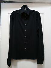 Men's Andrew MacKenzie Black Textured High Neck Long Sleeve Shirt sz 52