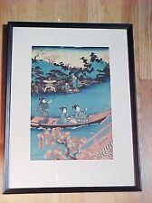 Vintage Japanese Wood Block Print Art Ladies In Boat Utagawa Toyokuni Ukiyoe