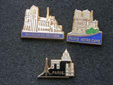 lot de 3 pin's NOTRE DAME DE PARIS , cathedrale