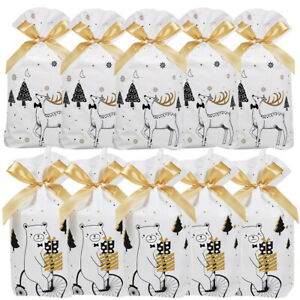 50 Large Drawstring Christmas Gift Bag Party Candy Bags Cookie Wrapping Pouch