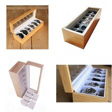 Men Wrist Watch Display Case Collectors Wood Box Storage Holder Glass Top Retail