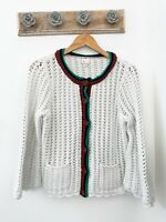 Anthropologie Size Medium Postmark Open Knit Cream Button Bell Sleeve Cardigan