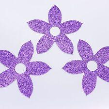 Purple Glitter Large Flower Card Embellishment / Topper