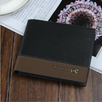 Luxury High Quality Mens Black Leather Bifold Wallet ID Credit Card Holder Gift
