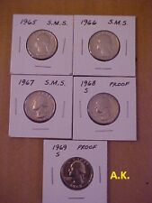( 5 ) FIVE YEAR RUN 1965-1966-1967 SMS + 1968-S,1969-S PROOF WASHINGTON QUARTERS