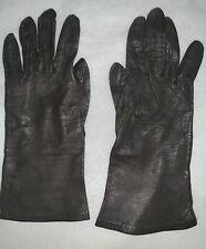 Vintage Bonkid Kid Skin Leather Black Gloves France Bonwit Teller Wrist 6.5