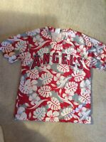 Los Angeles Angels of Anaheim Hawaiian Style Baseball Jersey Shirt Size XL SGA