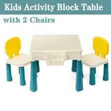 5 IN 1 Kids Multi Activity Table Set Building Blocks Play Desk w/ 2 Chairs AU