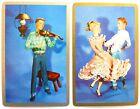 PAIR VINTAGE SWAP CARDS. WESTERN SWING DANCERS & FIDDLE PLAYER. c1950s GILT EDGE