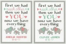 DIMENSIONS ELEPHANT FAMILY BIRTH RECORD BABY SAMPLER COUNTED CROSS STITCH KIT