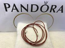 "Pandora ""100CM/39 inch Red Tan Cord "" Wrap Bracelet S925 Silver Ends (Necklace)"