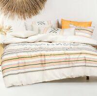 Cotton Queen Size Doona Duvet Quilt Cover Set With Pillowcases Multicoloured