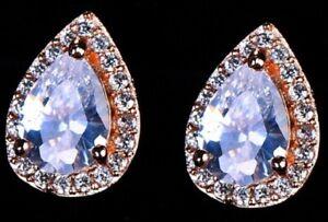 Rose Gold Zircon Faux Crystal Earrings Stud Tear Drop Teardrop Pierced E168 UK