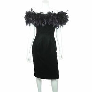 Vintage 80s Party Dress by Tadashi Shoji Black Velvet Size 4