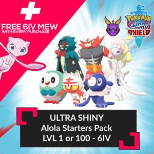 ✨ULTRA SHINY✨ 6IV ALOLAN STARTERS! LV 1 OR 100! W/ FREE MEW Pokemon Sword Shield