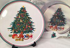 Vtg Signature Housewares Holiday Christmas Tree Round Serving Platter & Server