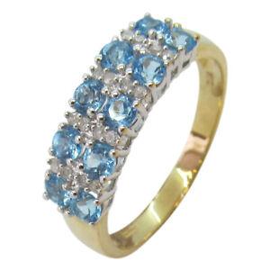 9ct Yellow Gold 0.80ct Aqua and Diamond Fancy Half Eternity Double Row Ring