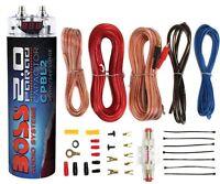 Boss CPBL2 2 Farad Car Digital Voltage Capacitor Power Audio Cap+8 Ga Amp Kit