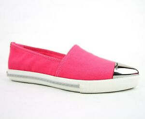 Miu Miu Neon Pink Canvas Pointed Toe Slip-on Shoes w/rubber Sole Sz 36.5