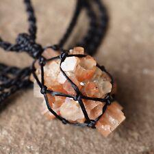 Macrame Jewelry,Necklace handmade,Raw Aragonite ,Stone Gemstone, Waxed Cord