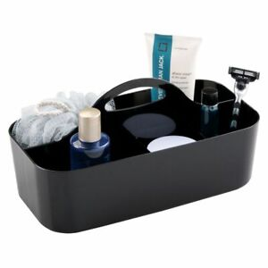 mDesign Plastic Bathroom Storage Organizer Caddy Tote, Large - Black