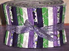"""Jelly Roll Strips Quilting Fabric 20~2.5""""Purple Lavender Green White Floral Sew"""