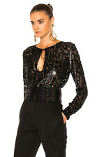 e1a7f964f Authentic  2890 ALEXANDRE VAUTHIER leopard printed black top Size 34 FR