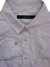 CALVIN KLEIN Shirt Mens 15 S Light Blue Narrow Stripes