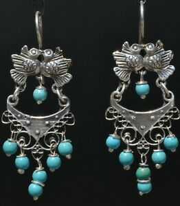 TAXCO STERLING SILVER LOVE BIRDS FRIDA KAHLO EARRINGS VTG STYLE MEXCIAN JEWELRY