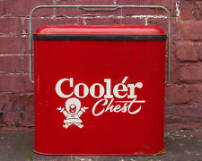 Vintage Eskimo Cooler Chest Mid Century Large Red Metal Cooler Soda Beer Ice Box