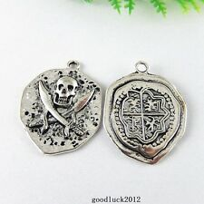 51377 Antique Silver Alloy Pirate Badge Insignia Pendants Charms Findings 20x