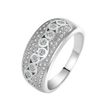925 Sterling Silver Inlay Shiny Diamond Ring Women Fashion Wedding Engagement