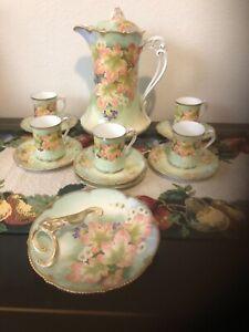 HAND PAINTED BAVARIA TEA SET, 5 CUPS, AUTUMN LEAVES , HEAVY GOLD