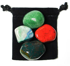 LIVER STRENGTH Tumbled Crystal Healing Set =4 Stones +Pouch +Description Card