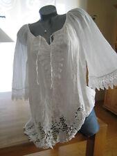Bluse Tunika Shirt Ibiza Style 38 40 42 S M L weiß Spitze ❤ Blogger Trend  ITALY