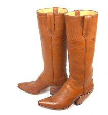 Paul Bond Classic Brown Cowboy Boots  - Size 8B - Vintage Tall Inlays Cutouts