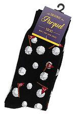 Golf Ball Socks Mens Crew Novelty Fun Casual Fashion Cotton Blend Black Sock