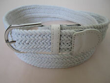 Men Women Unisex Web Cotton Canvas Stretch Braided Elastic Fashion Belt w Buckle