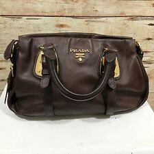 PRADA Brown Genuine Leather Gold Buckle Detail Cross Body Handbag Small 12131