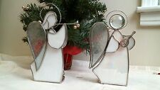 stained glass 2 White Angels candle holders tea light lot playing instructments
