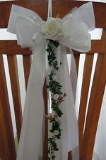 Luxus Kirchenstuhlschleife Stuhlschleife  weiß grün Hochzeit Kirchenschmuck