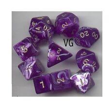 NEW RPG Dice 10pc - Marble Purple - 1 @ D4 D8 D10 D12 D20 D00-10 & 4 D6