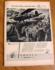 1943 Eronca Ad The Grasshoppers Airplane WW II Theme