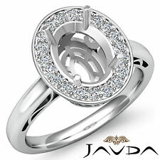 Halo Diamond Engagement Filigree Ring Platinum 950 Oval Shape Semi Mount 0.36Ct
