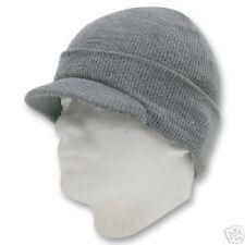HEATHER GREY VISOR BEANIE KNIT JEEP CAP SKULL CAPS HAT