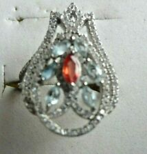 Aquamarine & Garnet Ring size 7.5